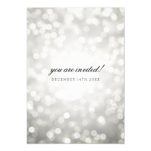 Silver Bokeh Lights Elegant Wedding 5x7 Paper Invitation Card (back side)