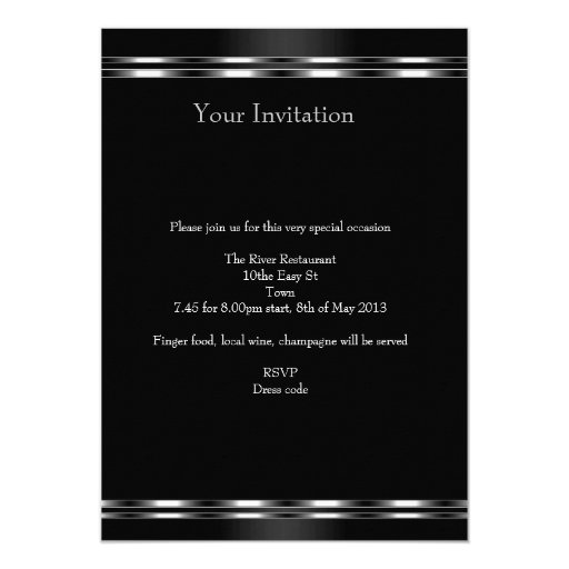 Black Silver Jewel 21st Elegant Birthday Party 5x7 Paper Invitation Card (back side)