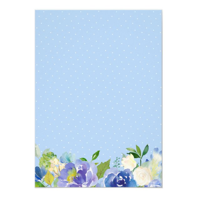 Pale Blue Hydrangeas Floral Engagement Party Card (back side)
