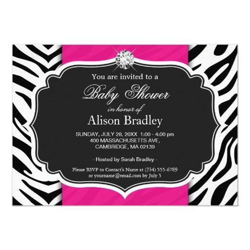 Girl Baby Shower - Elegant Zebra Print Hot Pink 5x7 Paper Invitation Card (back side)