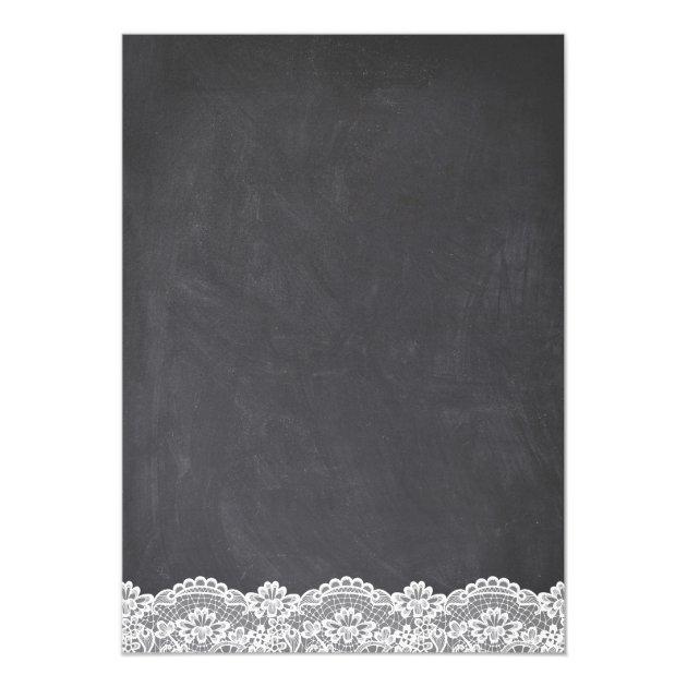 Twinkle Lights Chalkboard Lace Floral Wedding Card (back side)