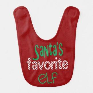 Santa's Favorite Elf Baby Bibs