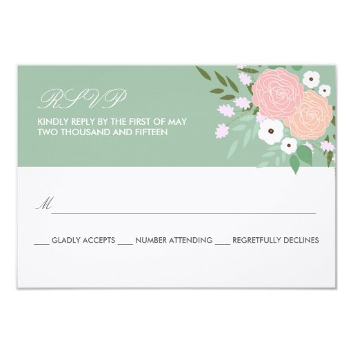 "Elegant Floral RSVP Card - mint 3.5"" X 5"" Invitation Card"