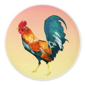 Orange Red Rooster Bird Animal Ceramic Knob