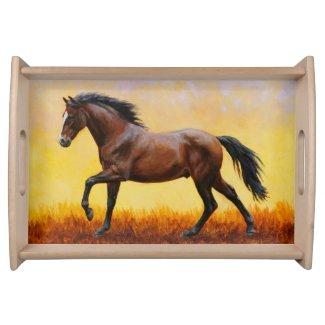 Dark Bay Stallion Horse Galloping Serving Tray