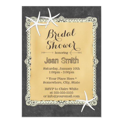 Stylish Starfish Chalkboard Bridal Shower 5x7 Paper Invitation Card