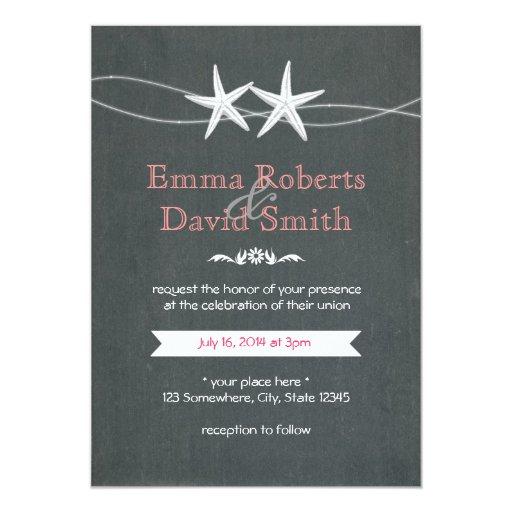 "Chalkboard Couple of Starfish Wedding Invitations 5"" X 7"" Invitation Card"