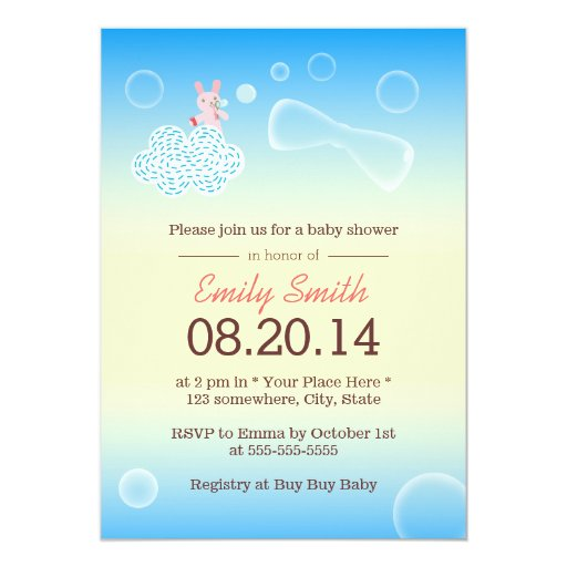 """Lil Bunny Playing Bubbles Baby Shower Invitations 5"""" X 7"""" Invitation Card"""