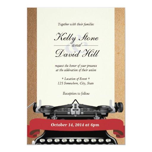 "Vintage Typewriter Old Paper Wedding Invitations 5"" X 7"" Invitation Card"