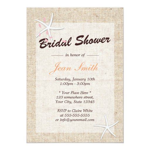 "Rustic Starfish Burlap Bridal Shower Invitations 5"" X 7"" Invitation Card"