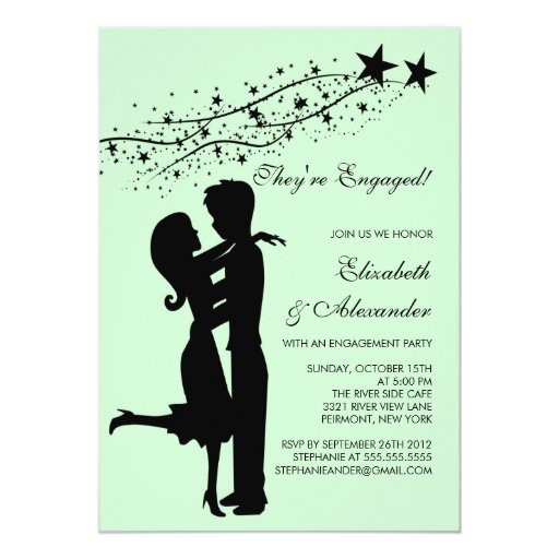 """Sweet Modern Couple in Love Engagement Invitations 5"""" X 7"""" Invitation Card"""