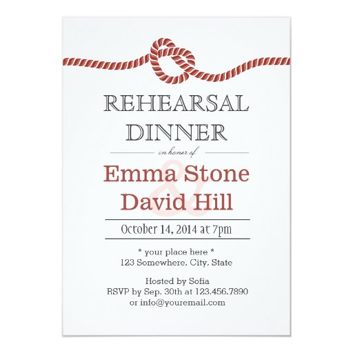 Simple Red Rope Knot Rehearsal Dinner 5x7 Paper Invitation Card
