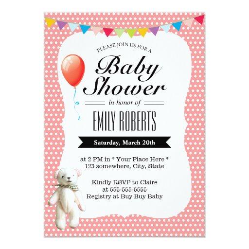 "Cute Teddy Bear Polka Dots Baby Shower Invitations 5"" X 7"" Invitation Card"