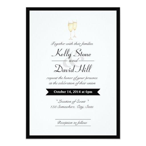 "Black Border Champagne Toast Wedding Invitations 5"" X 7"" Invitation Card"