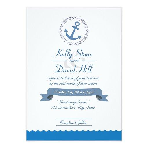 "Nautical Anchor & Blue Waves Wedding Invitations 5"" X 7"" Invitation Car..."