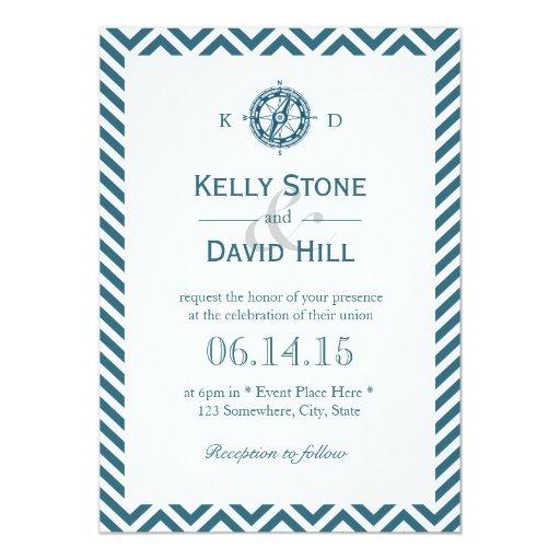 Nautical Compass Navy Blue Chevron Stripes Wedding 5x7 Paper Invitation Card