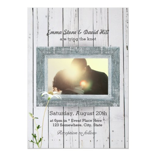 Country Daisy & Weathered Wood Photo Wedding 5x7 Paper Invitation Card