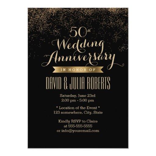 Chic Gold Confetti Dots Wedding Anniversary 5x7 Paper Invitation Card (front side)