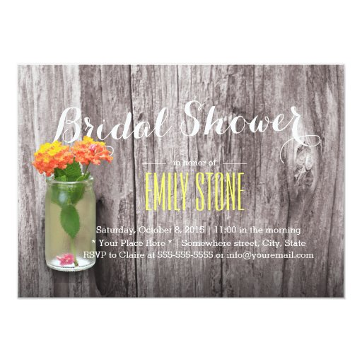 Rustic Country Mason Jar Wood Bridal Shower 5x7 Paper Invitation Card