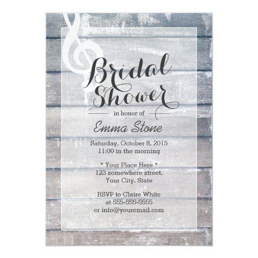 Stylish Weathered Wood Musical Bridal Shower 5x7 Paper Invitation Card