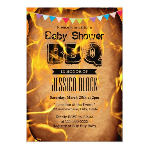 """Flaming Fire Baby Shower BBQ Party Invitations 5"""" X 7"""" Invitation Card"""