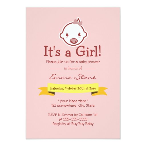 """It's a Girl Pink Baby Shower Invitations 5"""" X 7"""" Invitation Card"""