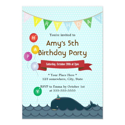 "Cute Whale Baby Blue Birthday Invitations 5"" X 7"" Invitation Card"
