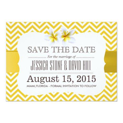 Classy Yellow Chevron Plumeria Save the Date 5x7 Paper Invitation Card