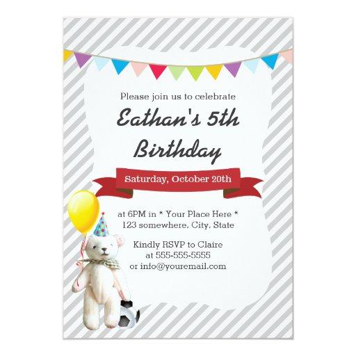 Classy Gray Stripes Soccer Bear Boy Birthday Party 5x7 Paper Invitation Card