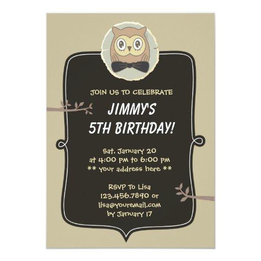 "Cute Owl & Tree 5th Birthday Party Invitation 5"" X 7"" Invitation Card"