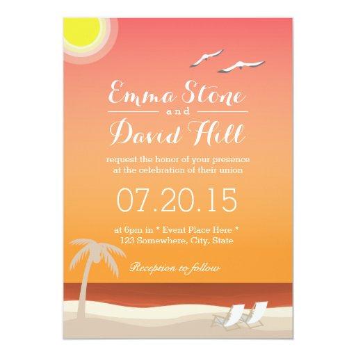 "Elegant Sunset Beach Wedding Invitations 5"" X 7"" Invitation Card"