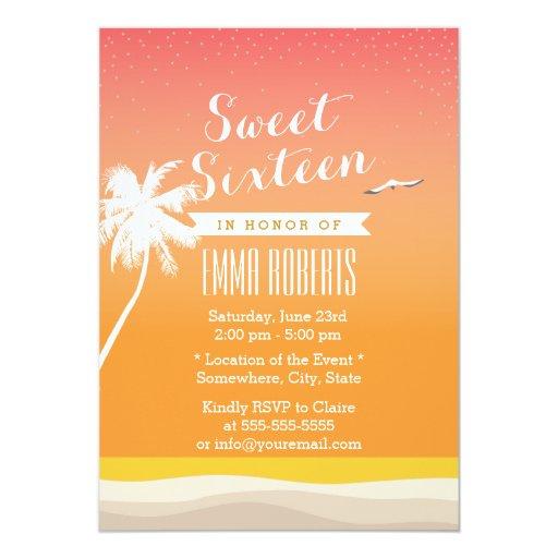 Golden Beach Elegant Sweet 16 5x7 Paper Invitation Card