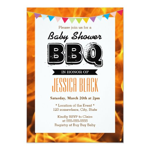 """Hot Fire BBQ Baby Shower Party Invitations 5"""" X 7"""" Invitation Card"""
