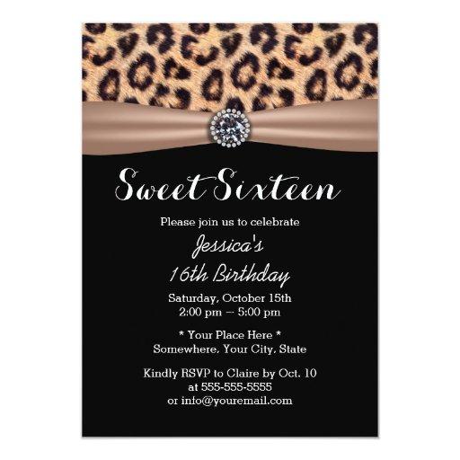 Modern Leopard Print Diamond Sweet 16 5x7 Paper Invitation Card