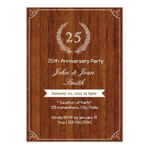 "Classy Wooden Wedding Anniversary Invitations 5"" X 7"" Invitation Card"