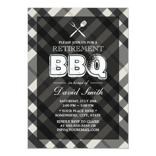 "Classy Gray Plaid BBQ Retirement Party Invitations 5"" X 7"" Invitation Card"