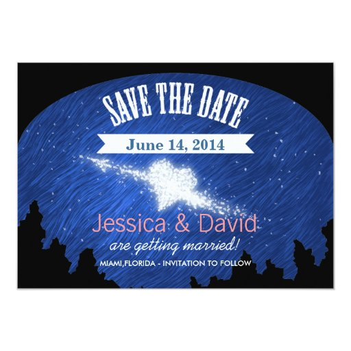 """Beautiful Blue Starry Night Save the Date Cards 5"""" X 7"""" Invitation Card"""
