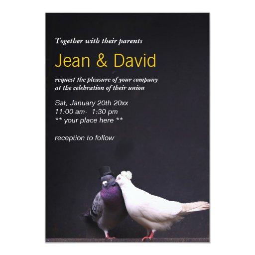 "Classy Bride & Groom Birds Wedding Invitation 5"" X 7"" Invitation Card (front side)"