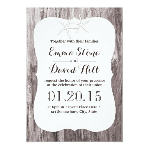 Rustic Starfish Driftwood Background Wedding 5x7 Paper Invitation Card (front side)