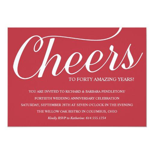 """Romantic 40th Wedding Anniversary Party Invitation 5"""" X 7"""" Invitation Card"""