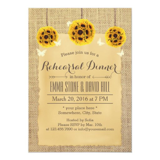 Rustic Sunflowers & Butterfly Rehearsal Dinner 5x7 Paper Invitation Card