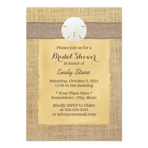 "Rustic Burlap Sand Dollar Bridal Shower Invitation 5"" X 7"" Invitation Card"