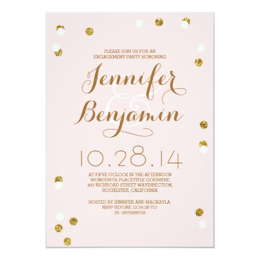 Blush pink & gold confetti modern engagement party 5x7 paper invitation card