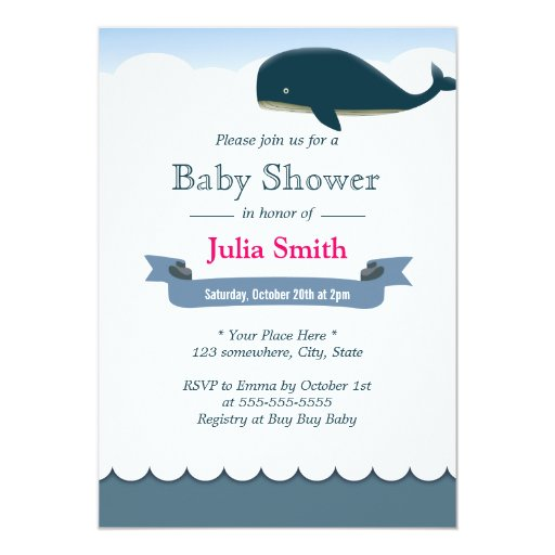 "Elegant Flying Whale Baby Shower Invitations 5"" X 7"" Invitation Card"
