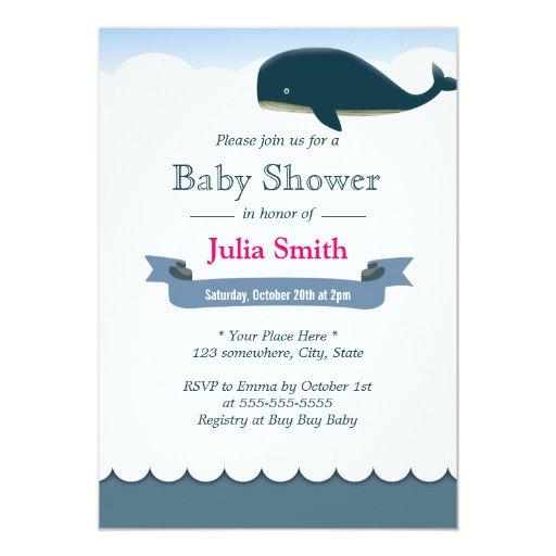 "Elegant Flying Whale Baby Shower Invitations 5"" X 7"" Invitation Card"