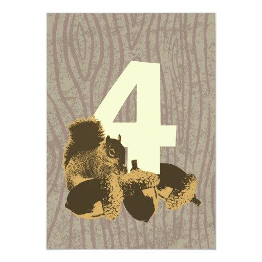 "Cute Squirrel 4th Birthday Party Invitation 5"" X 7"" Invitation Card"