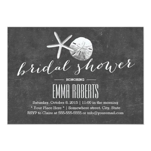 Vintage Chalkboard Beach Theme Bridal Shower 5x7 Paper Invitation Card