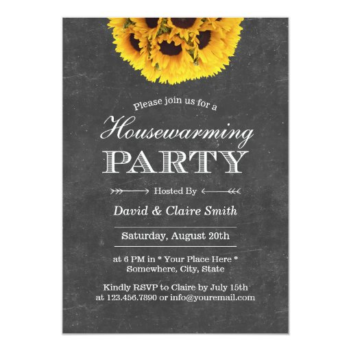Country Sunflowers Chalkboard Housewarming Party 5x7 Paper Invitation Card (front side)