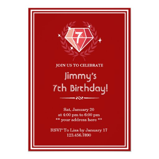 "Big Red Ruby Gems Birthday Party Invitation 5"" X 7"" Invitation Card"
