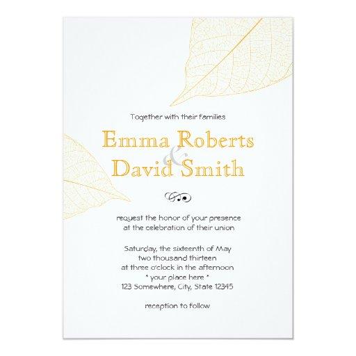 "Simple Yellow Autumn Leaves Wedding Invitations 5"" X 7"" Invitation Card"